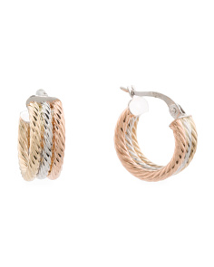 Made In Italy 14k Tricolor Gold 2 Row Chubby Hoop Earrings