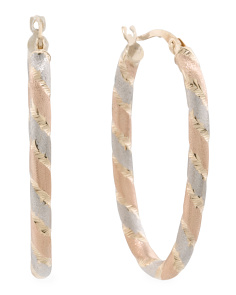 Made In Italy 14k Tricolor Gold Satin Hoop Earrings