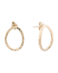 Made In Italy 14k Gold Diamond Cut Curved Circle Earrings