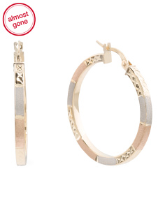 Made In Italy 14k Tricolor Gold Diamond Cut Hoop Earrings