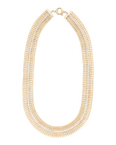 Made In Italy 14k Gold Wide Mesh CZ Collar Necklace