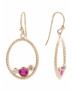 Made In Italy 14k Gold Red And White Cz Open Circle Earrings