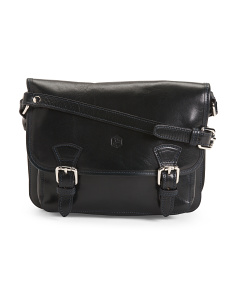 Made In Italy Buckle Leather Saddle Bag