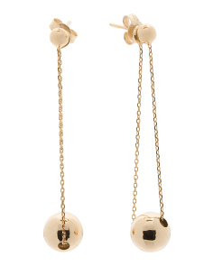 Made In Italy 14k Gold Ball And Chain Earrings