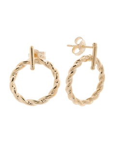 Made In Italy 14k Gold Braided Circle Bar Earrings