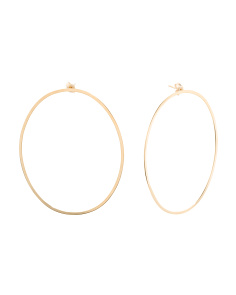 Made In Italy 14k Gold Large Open Hoop Oval Earrings
