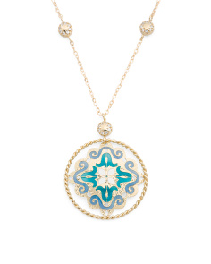 Made In Italy 14k Gold Enamel Medallion Cz Necklace