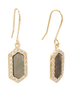 Made In Italy 14k Gold Black Mother Of Pearl And CZ Earrings