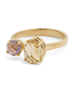 Made In Italy 14k Gold Citrine And Amethyst Open Ring