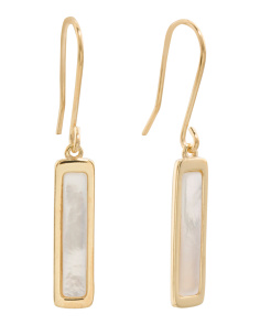 Made In Italy 14k Gold Mother Of Pearl Linear Earrings