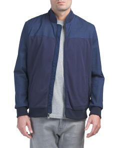 Mesh Pique Knit Combo Bomber Jacket