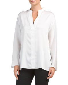 Split Neck Silk Blend Blouse