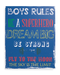 24x30 Boys Rule Canvas Wall Art