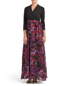 Surplice Mixed Media Maxi Dress