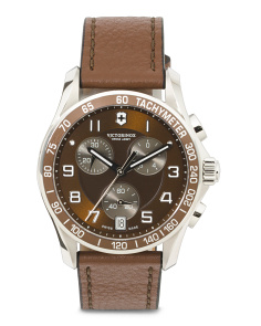 Men's Swiss Made Chronograph Classic Leather Strap Watch