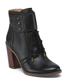 Grannie Collar Strap High Heel Leather Boots
