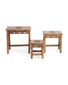 Made In India Set Of 3 Pineapple Nesting Tables
