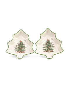 Set Of 2 Tree Shaped Dishes