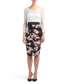 Juniors Lace Illusion Floral Midi Dress