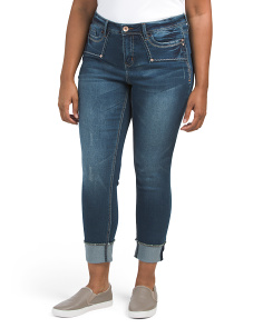 Plus Frayed Cuff Ankle Jeans