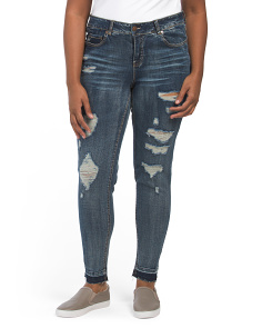 Plus Juniors Destructed Skinny Jeans