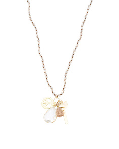 Krystal Semi Precious Stone Peace Charm Necklace