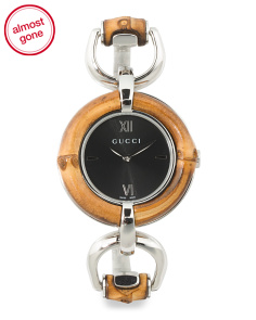 Women's Swiss Made Bamboo Bezel Bangle Watch