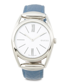 Women's Swiss Made Horsebit Blue Leather Strap Watch