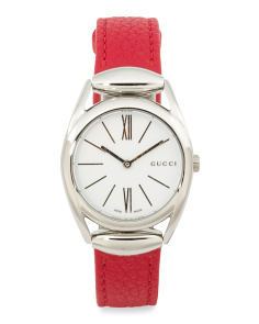 Women's Swiss Made Horsebit Red Leather Strap Watch