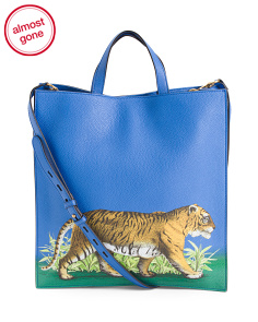 Made In Italy Tiger Leather Tote
