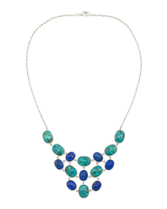 Made In Thailand Sterling Silver Lapis Bib Necklace