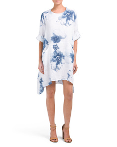 Made In Italy Linen Floral Print Dress