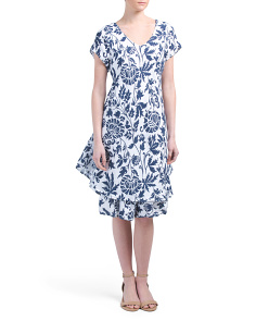 Made In Italy Printed Linen Dress