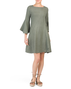 Made In Italy Linen Trumpet Sleeve Dress