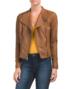 Asymmetrical Zip Leather Jacket