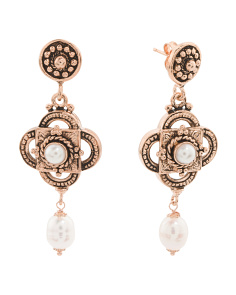 Made In Italy Rose Gold Plated Bronze Pearl Earrings