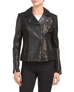 Ponte Mixed Media Leather Blend Jacket
