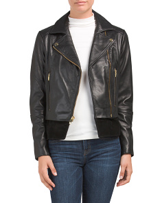 Leather Moto Jacket With Suede