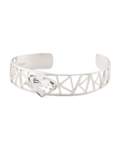 Made In Thailand Sterling Silver Cz Cuff Bracelet