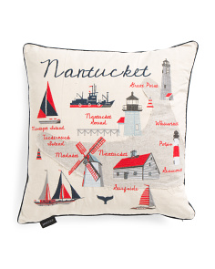 Embroidered Nantucket Pillow