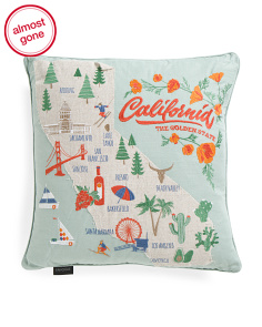 20x20 Embroidered Cali Map Pillow