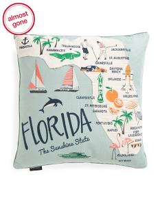 Embroidered Florida Map Pillow