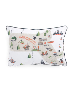 12x18 Massachusetts Map Pillow
