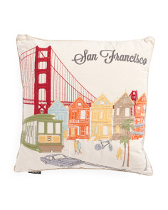 20x20 Embroidered San Fransisco Pillow