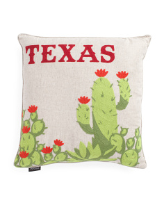 20x20 Chainstitch Texas Cactii Pillow