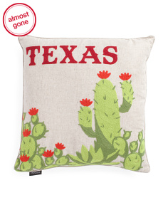 20x20 Chainstitch Texas Cacti Pillow