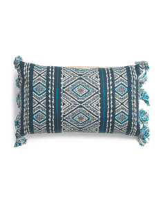 Made In India 16x26 Diamond Tassel Pillow