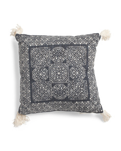 Made In India 20x20 Dot Floral Print Pillow