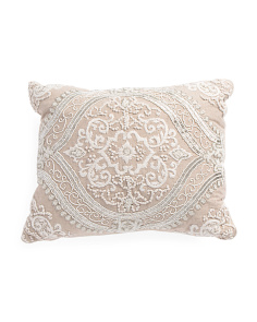 Made In India 16x20 Beaded Damask Pillow