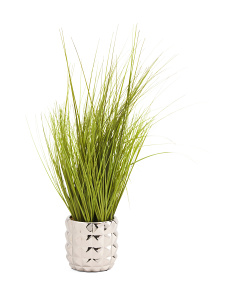 25in Faux Grass In Metallic Pot